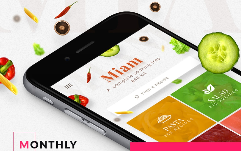 Miam free IOS UI Kit for your cooking apps