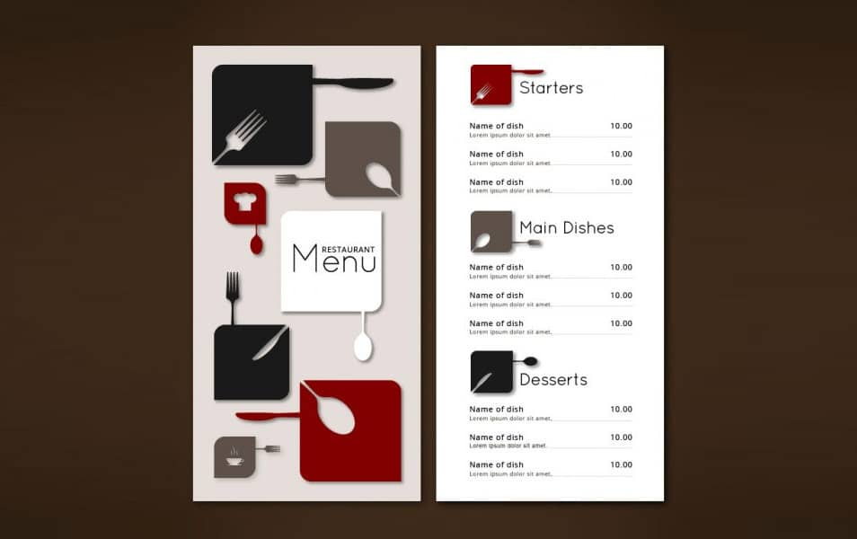 Minimalist christmas menu