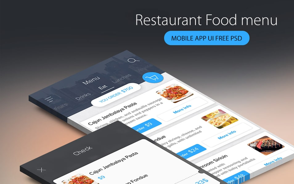 Restaurant Food menu Mobile App UI Free PSD