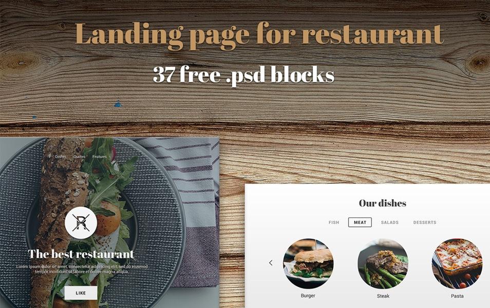 Restaurant Landing Page UI Kit PSD