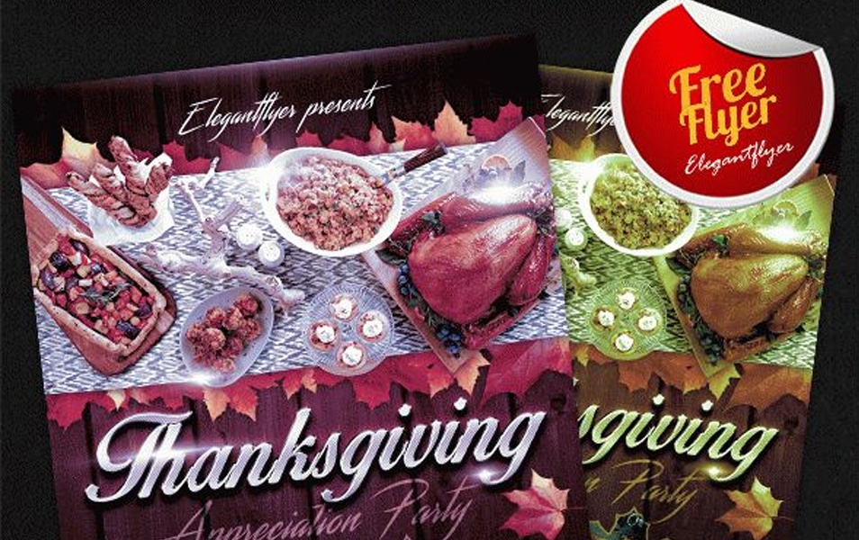 Thanksgiving Design V02 – Free Flyer PSD Template + Facebook Cover