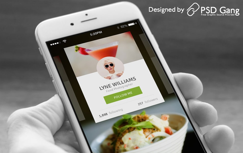 The food photographer profile mobile UI