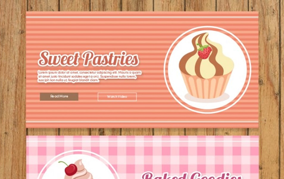 Vintage bakery banners