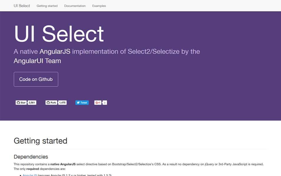از AngularJS UI را انتخاب کنید