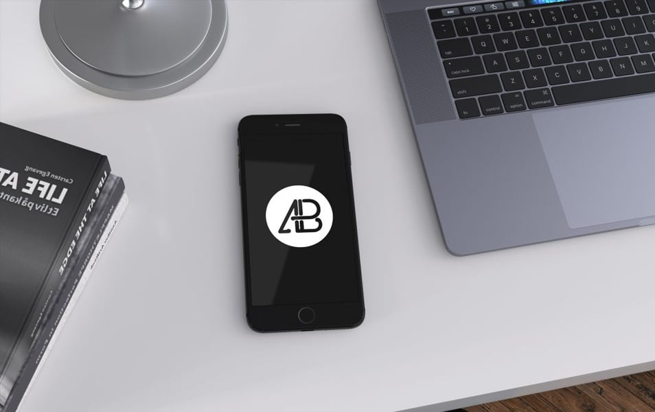 Realistic Jet Black iPhone 7 Plus Mockup Vol.3
