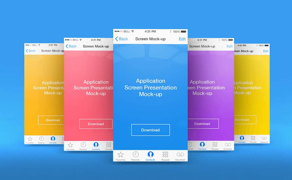 App Screen Presentation Mock-ups #1
