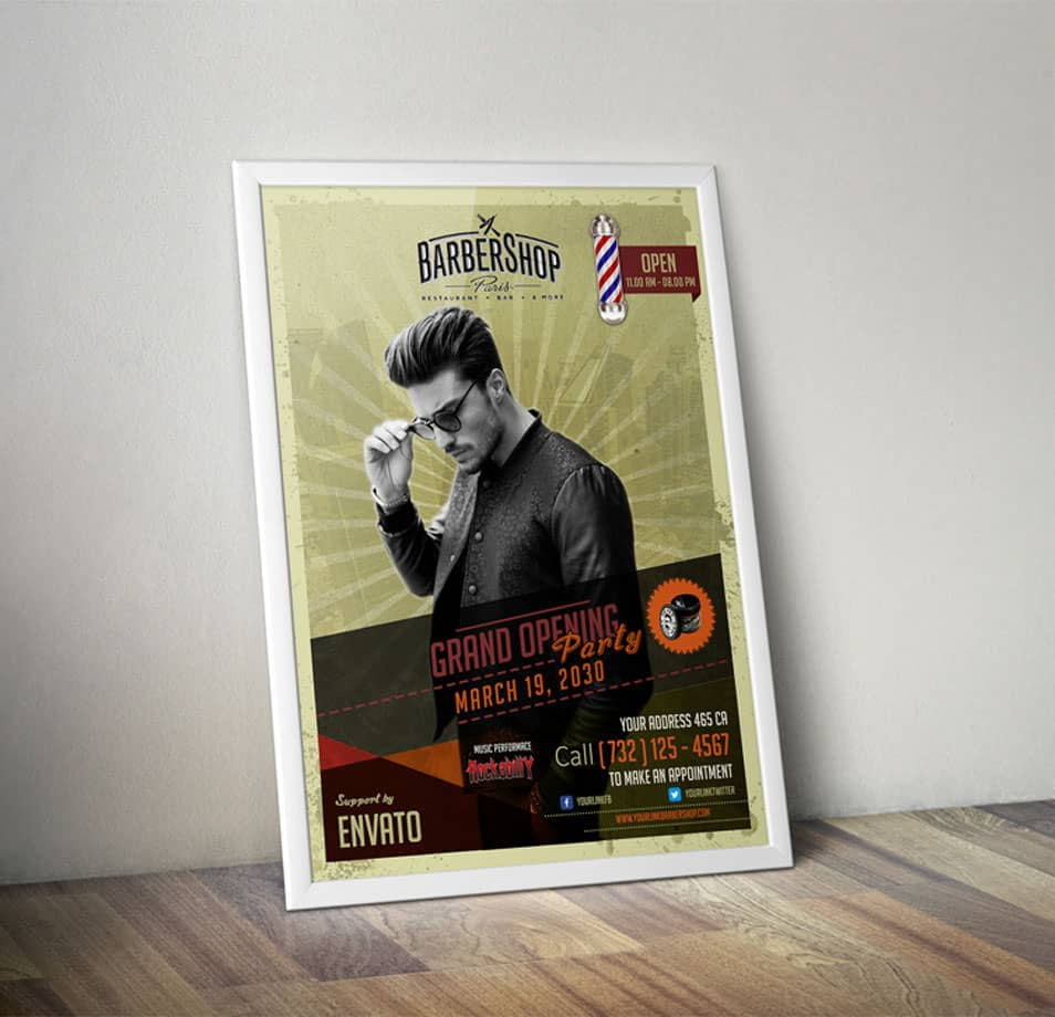 Barbershop Retro Flyer Template