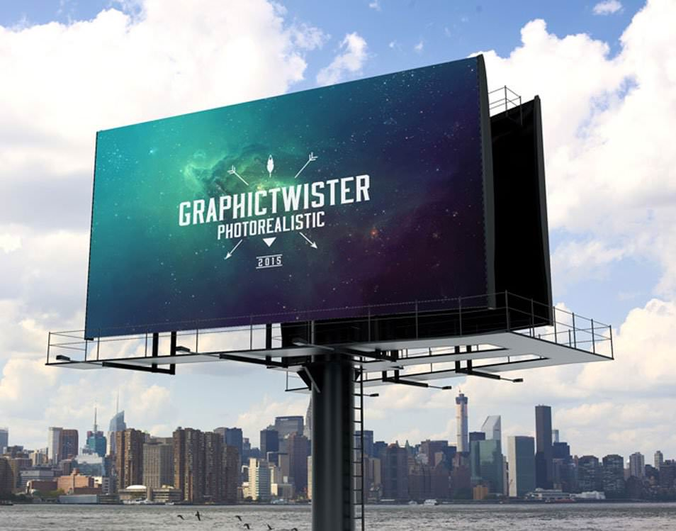 Billboard Mockup With Separated Background