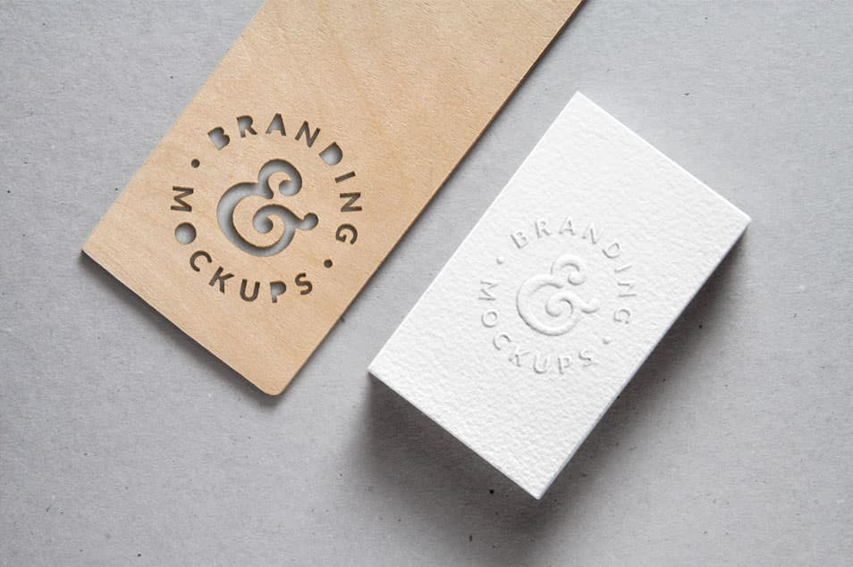 Cutout Wood & Embossed Business Card MockUp