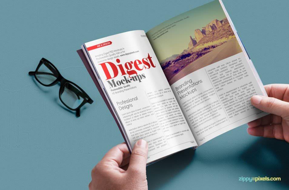 Free Digest-size Magazine PSD Mockup