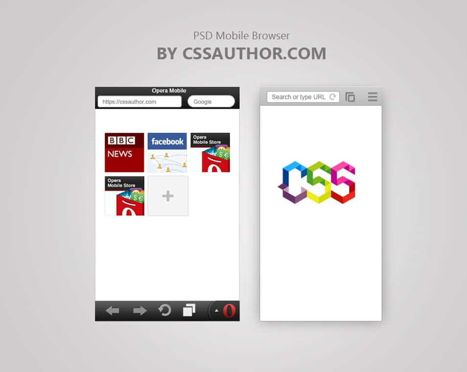 Free Mobile Browser Template PSD for Opera and Chrome