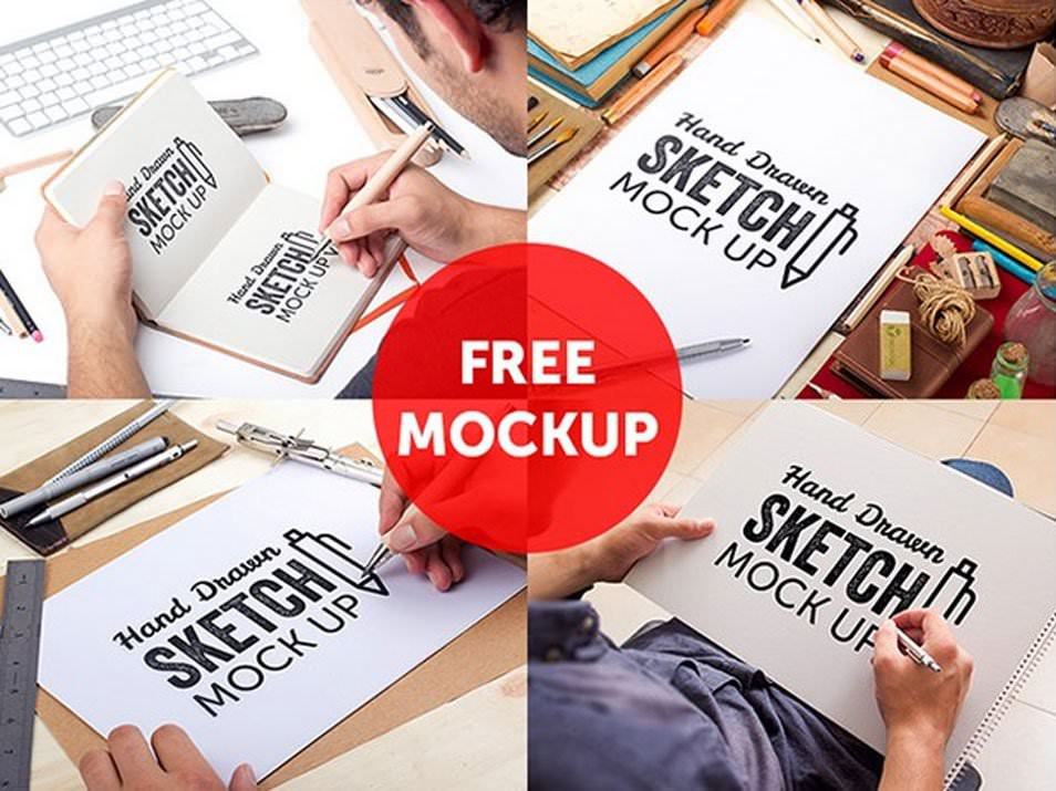 Hand Drawn Sketch Book Mockups PSD