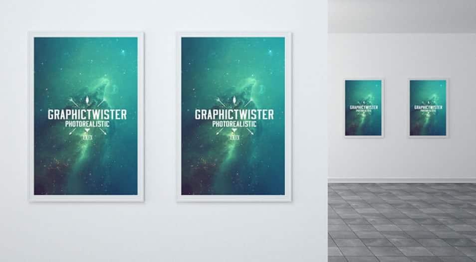 Museum Poster Frames Mockup
