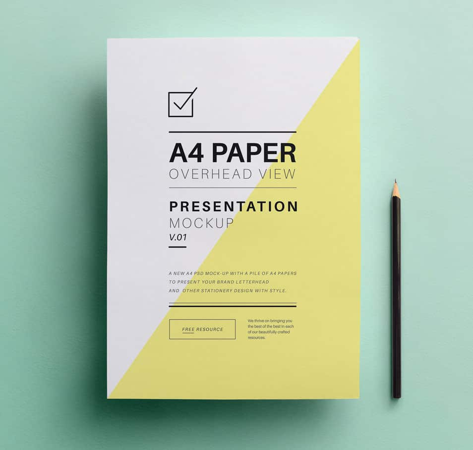Psd A4 Overhead Paper Mock-Up