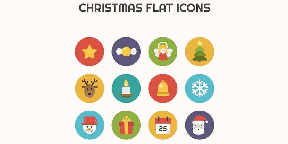 Christmas Flat Icons PSD