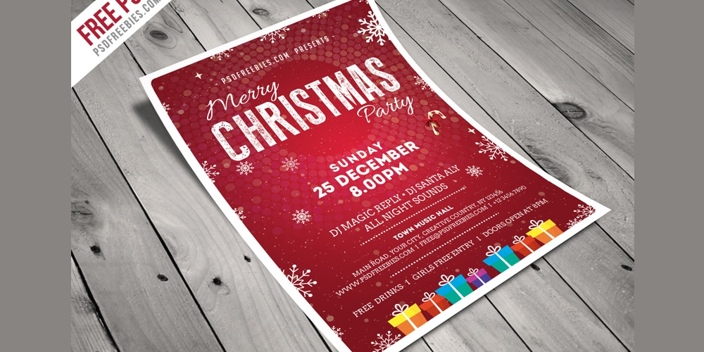 Christmas Party Flyer Template PSD
