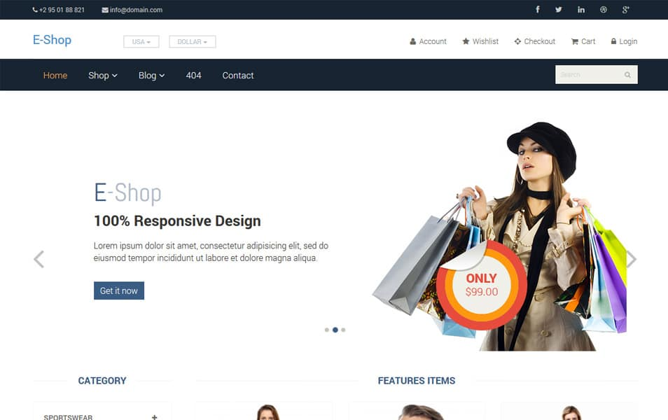 EShop Free Responsive Woocommerce Theme
