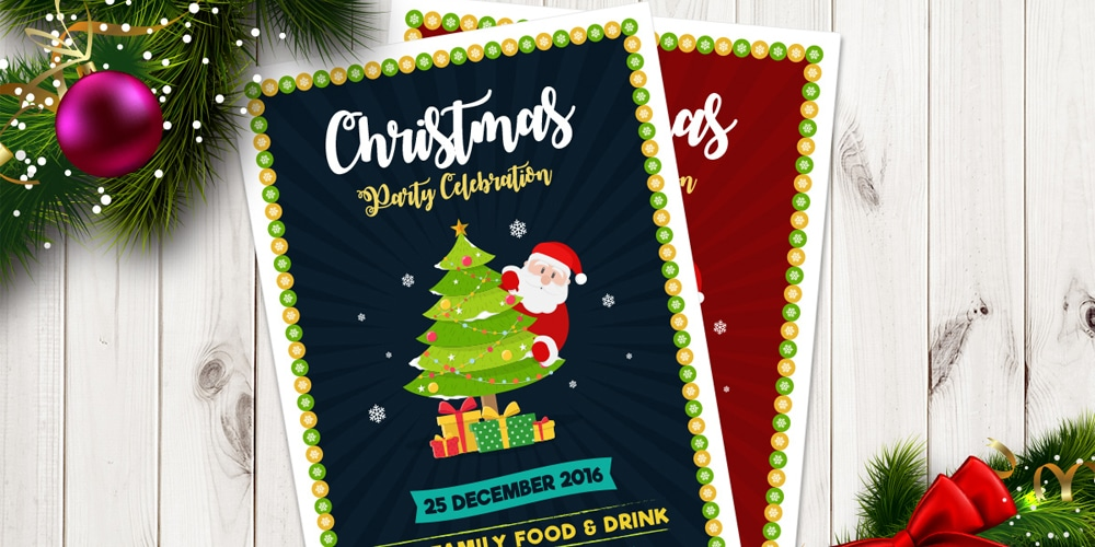 Free Christmas Party Celebration Flyer Template Vector