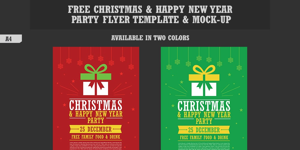 Free Christmas and Happy New Year Party Flyer Template