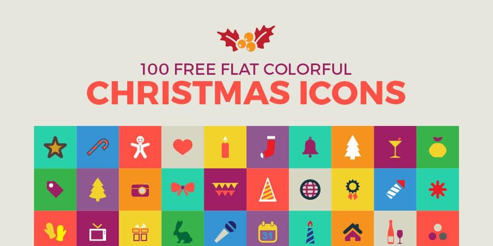 Free Flat Colorful Christmas Icons