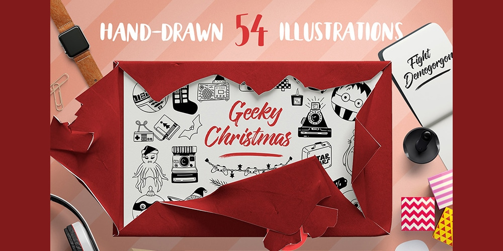 Free Geeky Christmas Vector Set + Patterns