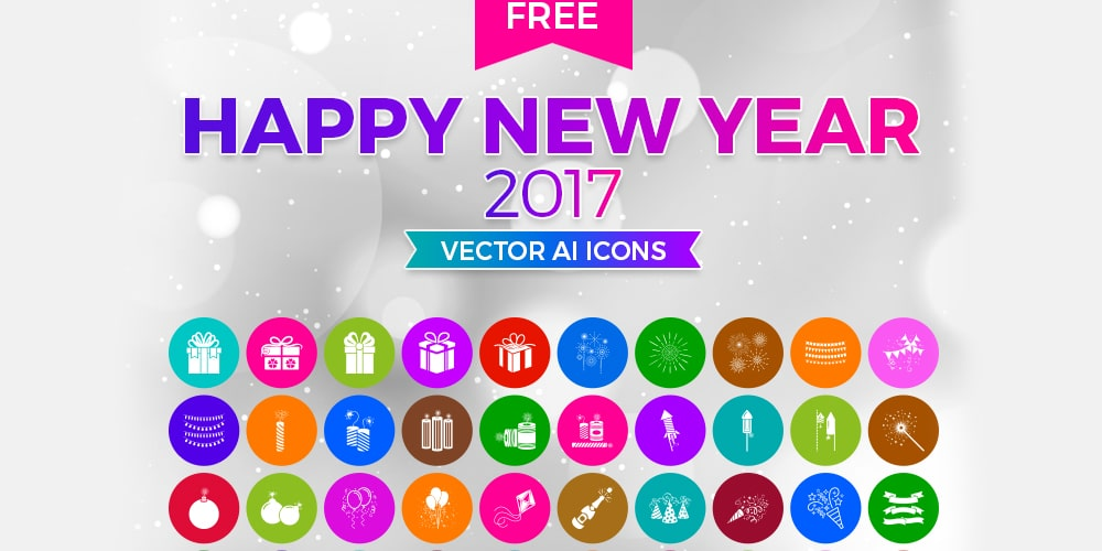 Free Happy New Year 2017 Icons