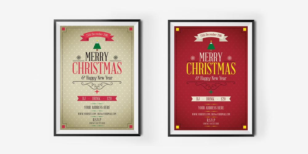 Free Merry Christmas and Happy New Year Flyer Template PSD