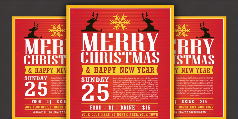 Free Modern Christmas Flyer Template Vector