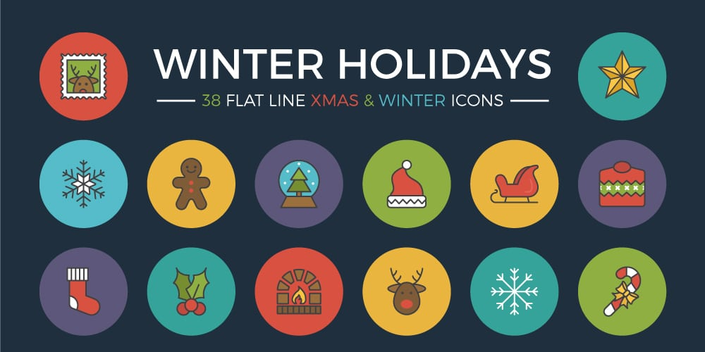 Free Winter Holidays Flat Line Icons