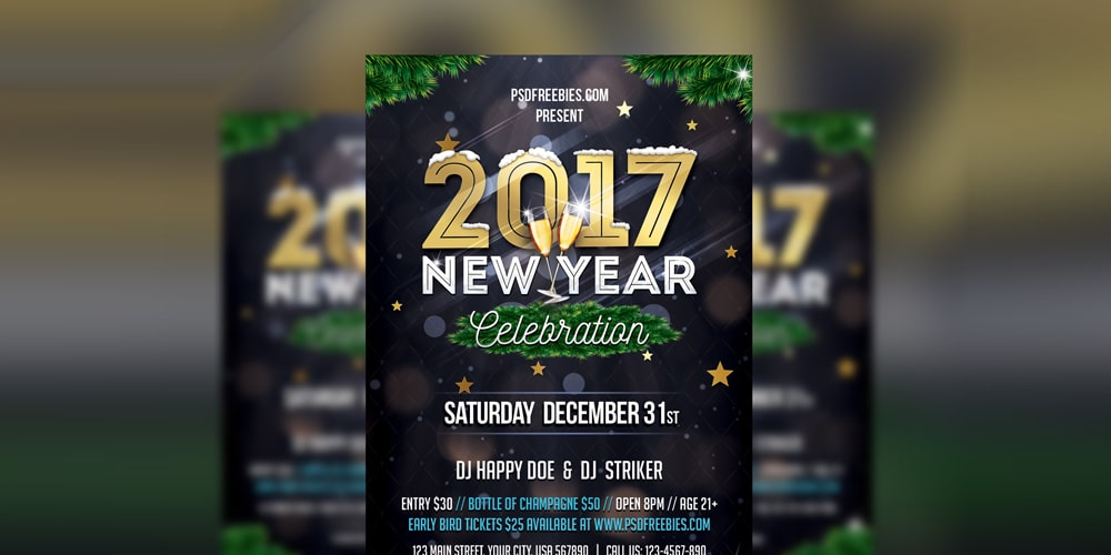 New Year Party Invitation Flyer Template PSD