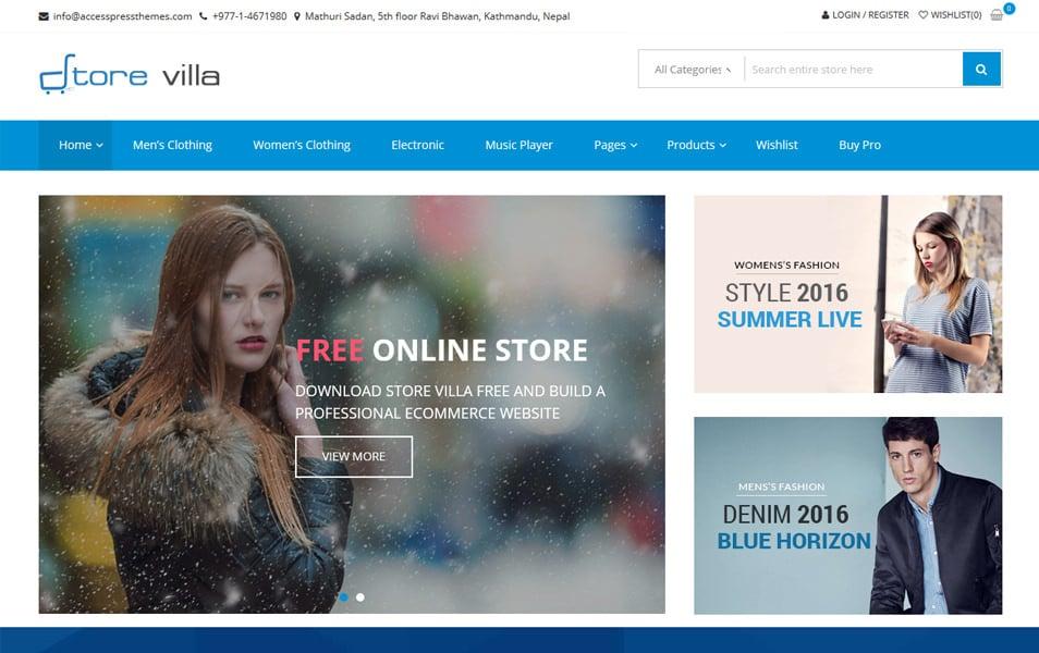 StoreVilla موضوع تجارت الکترونیک پاسخگو