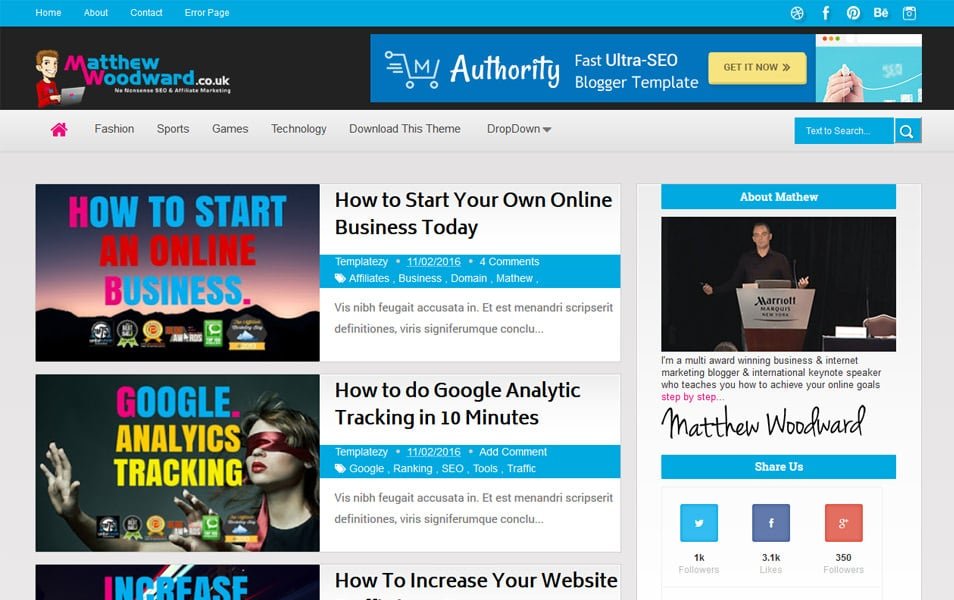 Authority Responsive Blogger Template