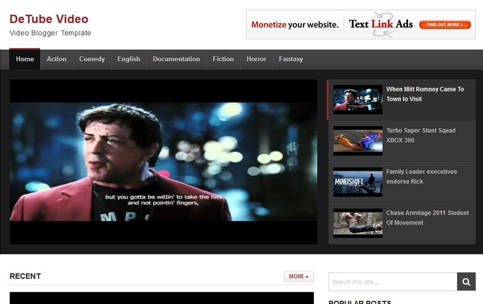 DeTube Video Responsive Blogger Template