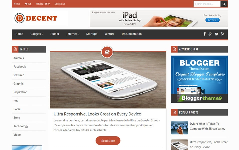 Decent Responsive Blogger Template