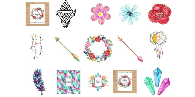 Free Watercolor Bohemian Elements and Illustrations