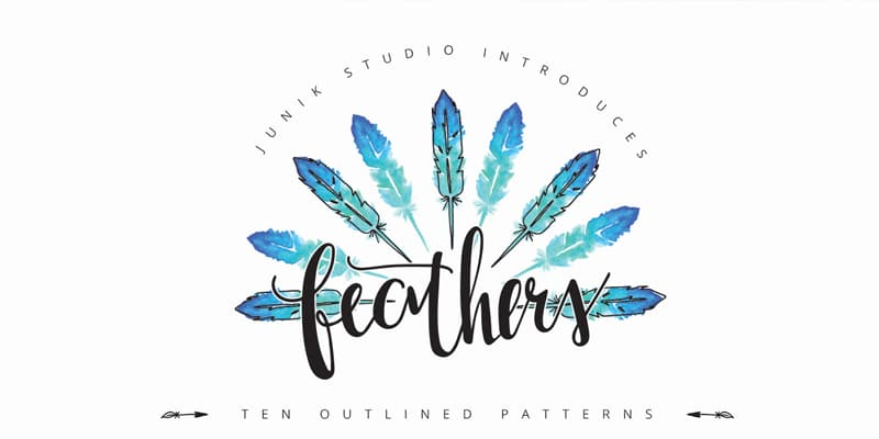 Free Watercolor Feather Elements and Patterns