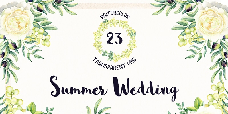 Free Watercolor Summer Wedding Flowers