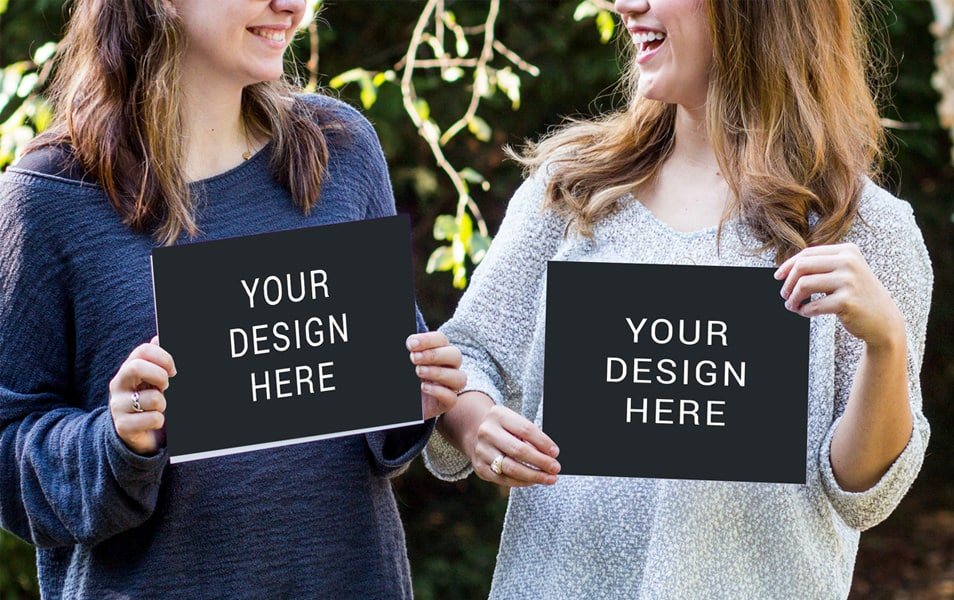 Girls Holding Poster Mockup