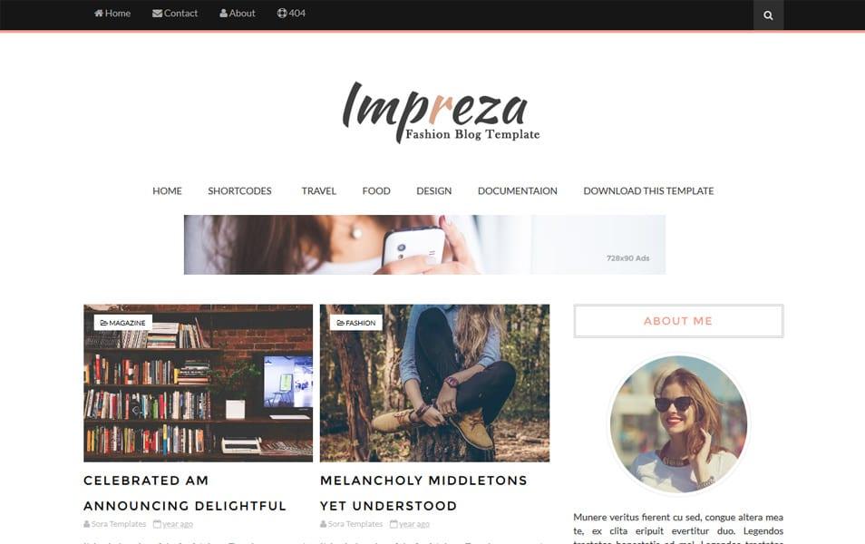 Impreza Responsive Blogger Template