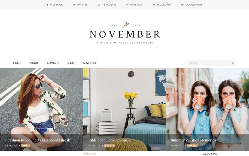 November Responsive Blogger Template
