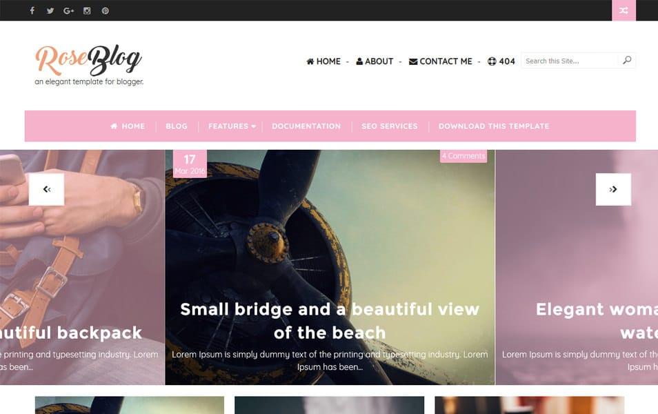 Rose Blog Responsive Blogger Template