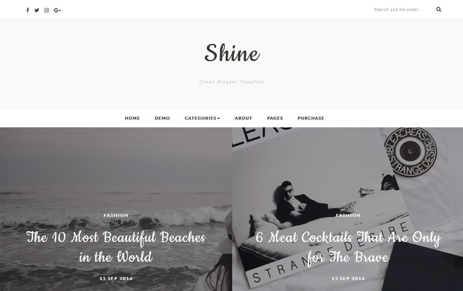 Shine Template Blogger Responsif