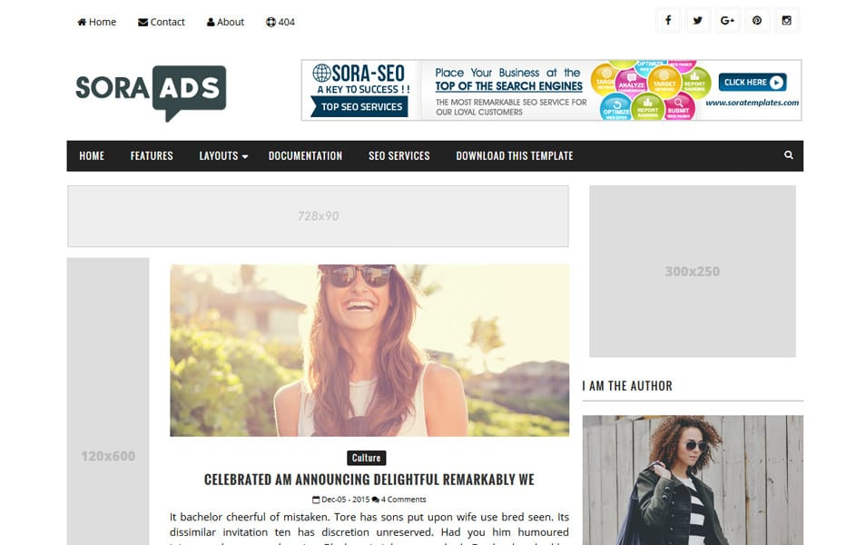 Sora Ads Responsive Blogger Template