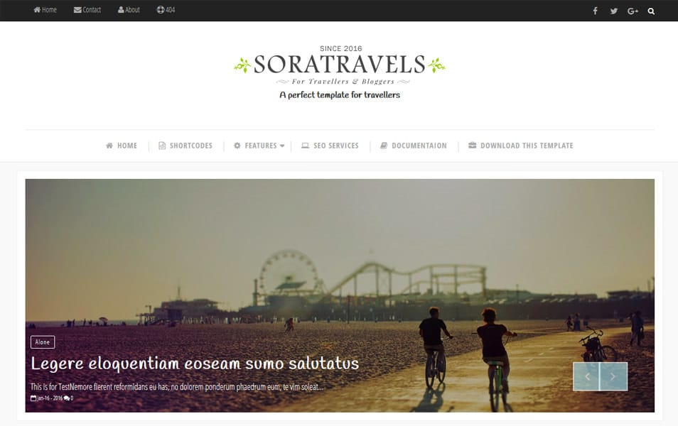 Sora Travels Responsive Blogger Template