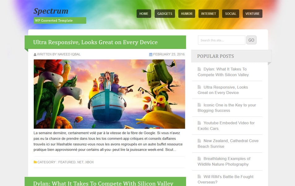 Spectrum Responsive Blogger Template