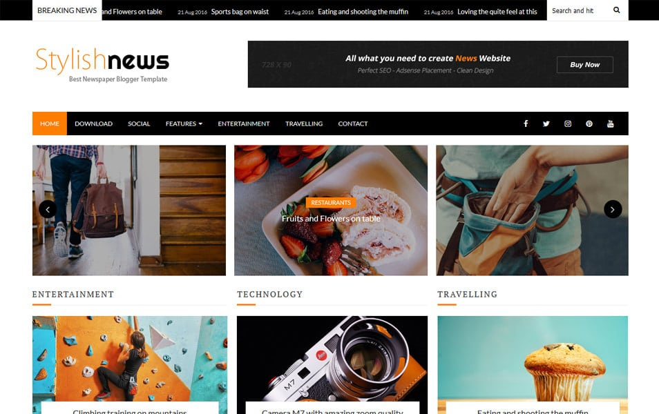 Stylish News Responsive Blogger Template
