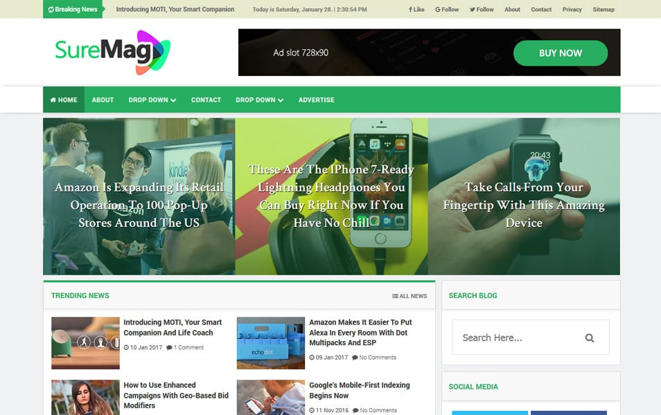 Sure Mag Responsive Blogger Template