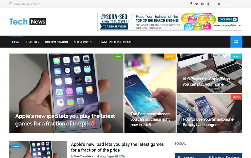 Tech News Responsive Blogger Template