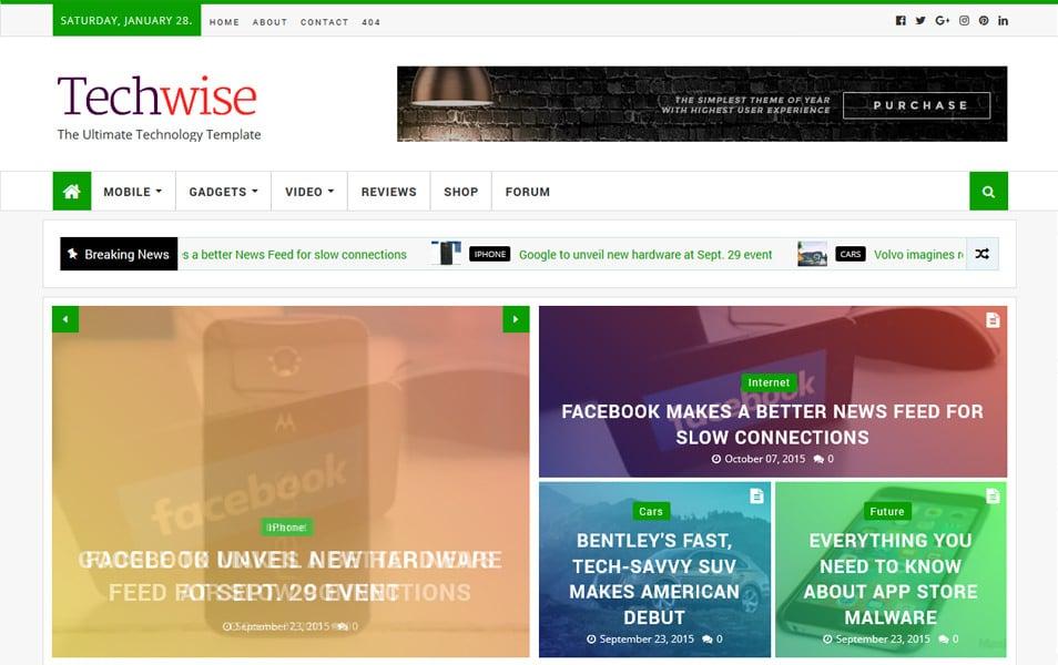 Techwise Magazine Responsive Blogger Template