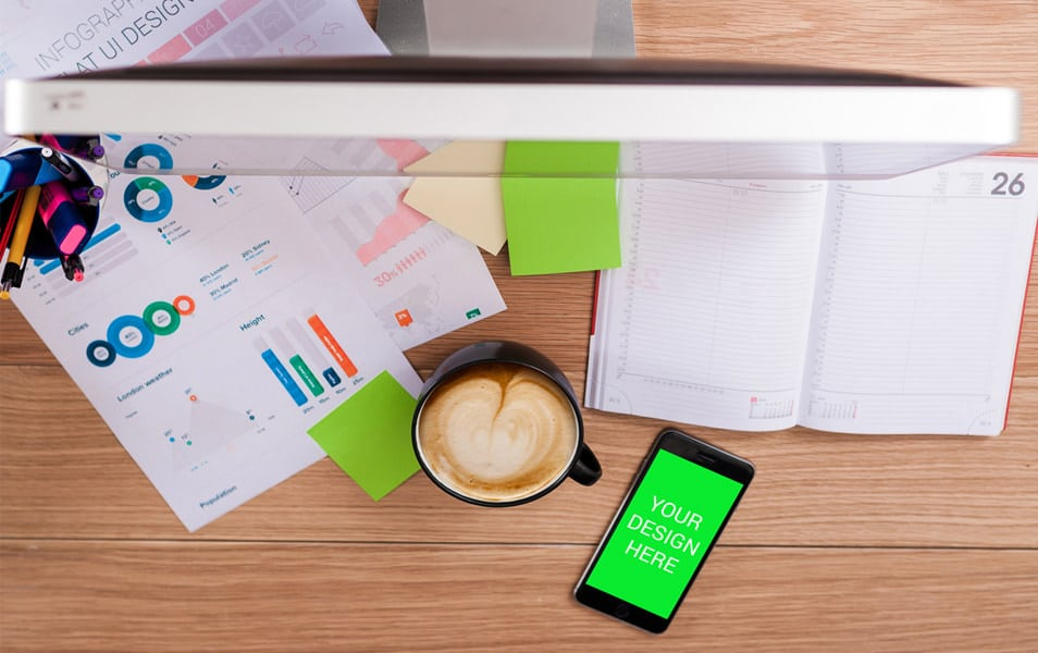 iPhone 6 on Desk Mockup